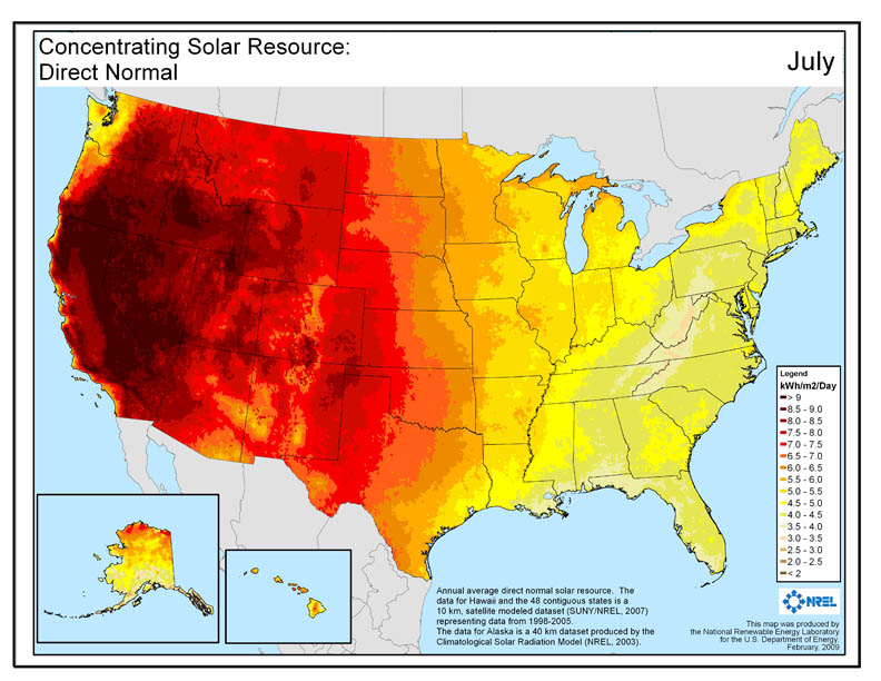 Solar Panel Costs - Solar Irradiation Map of United States